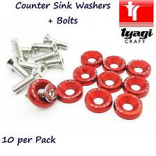 Red Anodized M6 Counter Sunk Washers Nuts Coloured Car Detail