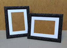 "Black/Silver Sparkly Photo Frame with White Mount for 6 x 4""/4 x 6"" Photo/Print"
