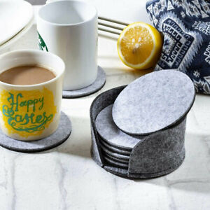 10Pcs Round Felt Coaster Drinking Glass Placemat Tea Cup Pads Mat Holder Gray