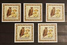 S.TOME.E.PRINCIPE BIRDS OWLS 5 MINI BLOCKS IMPERFORED MNH