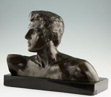 Gr Art Deco Büste Serge Zelikson Bronze Russischer Bildhauer Paris Russia 18kg
