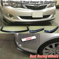 CS Style Front Bumper Lip + Aluminum STi Emblem Fit 08-10 Subaru Impreza WRX