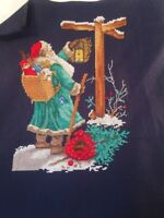 """counted cross stitch unfinished unframed navy blue aida Santa Claus 8""""X10"""""""