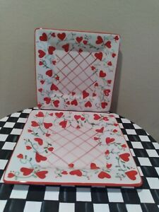 """Mesa Square Hearts Lunch Plates Set of Two 9 1/2"""" NEW"""