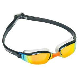 MP Michael Phelps XCEED Swimming Goggles Grey/Orange Titanium Gold Mirror Racing