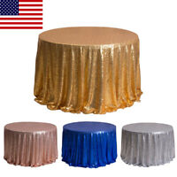 120cm Sparkly Rose Gold Sequin Table Cloth Cover Wedding Party Banquet Birthday