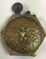 antique WWI French brass Trench petrol lighter with Eagle and shield Ministere