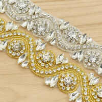 Bridal Crystal Rhinestone Applique Lace Trim Bridal Sewing Craft DIY Drill Chain