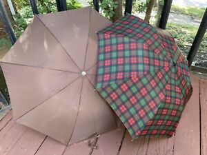 Lot 2 1980s Vintage Fashion Umbrellas Tartan Red Plaid and Solid Brown Unbranded