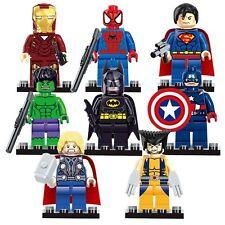 8pcs Superheroes Batman Spiderman hulk Thor Superman fits Lego Minifigures