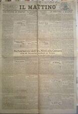 IL MATTINO -  8-9 AGOSTO 1919 - DICHIARAZIONI DELL'ON. NITTI ALLA CAMERA - 614