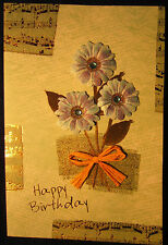Hand-made natural pressed bouquet birthday cards - set of 3, free shipping