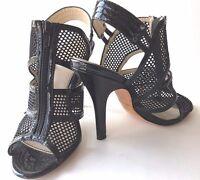 "Isola Cage Sandal Black Leather 4.5"" Heel Zipper Front Slingback Peeptoe Women 7"