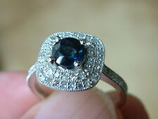 BLUE SAPPHIRE & DIAMOND Ring 1.24 ctw Round Sapphire 14k Solid white gold $2750