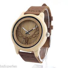 HP Casual Boy Men Women Deer Head Dial Analog Bamboo Wood Strap Wrist Watch Gift
