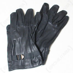 Original Belgian Army Leather Gloves - Black - High Quality - Surplus - Winter