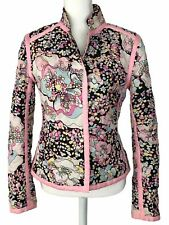 SILKLAND Size Small Quilted Pink Floral Jacket Long Sleeve Snap Closure