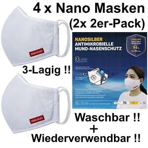 4x Nanosilber Nasen- Mundschutz Community Behelfs Maske 3-Lagig Wiederverwendbar