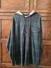Vintage Polo Ralph Lauren Blackwatch Plaid Flannel Hooded Shirt  Sz M