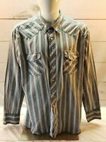 Wrangler Western Shirt Size XL Pearl Snap Long Sleeve White Blue Gray Stripe VTG