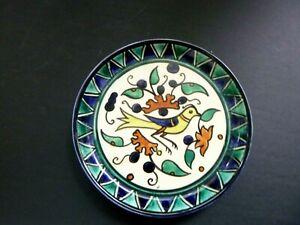 VINTAGE ANTIQUE ARMENIAN PALESTINE OLD JERUSALEM POTTERY GLAZE Bird Plate
