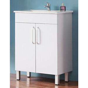 Badmöbel Set 60 cm Waschtisch mit Unterschrank Keramikbecken Badset Stehend Weiß