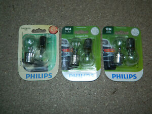 (3) NEW PACKS OF 2 PHILIPS LONGER LIFE 1034 TRUNK OR CARGO LIGHT BULBS 1034LLB2