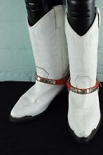 Blanco de Cuero Occidental Vaquera Cowboy Biker Botas de Montar país Ranch UK 5 EU 38
