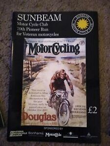 Sunbeam Motor Cycle Club Pioneer Run Programme - 70th 2008