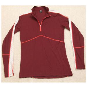 Helly Hansen Burgundy Red White Polo Shirt Base Layer 1/4 Zip Polyprophylene H1