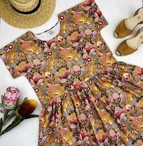 Handmade Australian Wild Flowers Proteas Kirsten Katz Smock Dress Pockets Sz 12