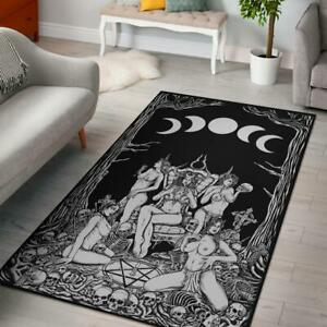 Skull Demon Satanic Pentagram Sexy Witch Throne Area Rug