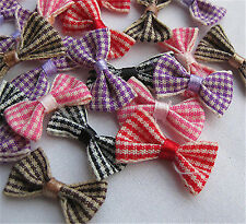 100pcs Small Gingham Ribbon Bows Flower Craft Appliques A720 Lots U pick 9e139c0aba91