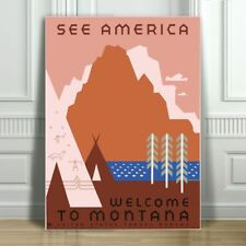 VINTAGE TRAVEL CANVAS ART PRINT POSTER - See America Montana Tents - 12x8""