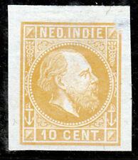 Nederlands Indië, Kleurproeven emissie 1870, ongetand, geen gom. 10 cent geel