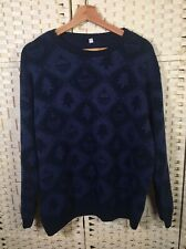 Navy Blue Vintage Christmas Tree Baubles Long Sleeved Knit Jumper Sweater 3XL