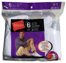 Hanes Comfort Toe Seam 6 paris cushion Low Cut white socks fit shoe size 6-12