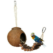 Natural Coconut Shell Bird Nest With Ladder House for Small Pet Hamster Cage New