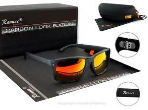 Rennec Herren Sonnenbrille Sport Carbon Nerd Rechteckig Schwarz Orange 14CB BOX
