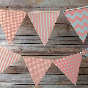 Quasimoon Pink Mix Pattern Triangle Pennant Banner by PaperLanternStore