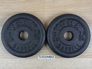 """5 lb York Barbell Standard 1"""" Cast Iron Plate Pair 10lb Total Change Plate"""