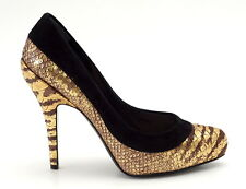 CHRISTIAN DIOR Shoe Gold Snakeskin Black Suede Pump 37 /  7
