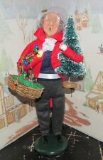 Byers Choice Man w Christmas Tree Basket of Ornaments and Lights 1996 64/100 *