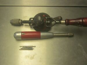 vintage craftsman egg beater drill and millerfalls drill no. 100