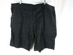 "NYDJ Lift Tuck Technology Black Shorts 9.5"" Inseam Linen Blend Pockets Plus 24W"