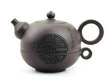 CHINESE YIXING ZISHA CLAY ARTISTIC DARK-BROWN TEAPOT AND COVER SET CUP NEW # 19