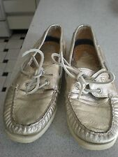 Sperry LADY SHOES Women's Gold PEWTER Leather loafers Boat shoes Sz 7.5