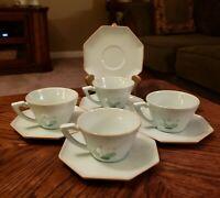 Vintage Vally Werner PERSIAN GARDEN 4 Cups, 5 Saucers 1945-50 Blue Handmade