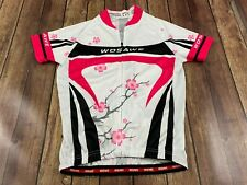 WOSAWE Women's Full Zip Down White Floral Cycling Jersey - Medium