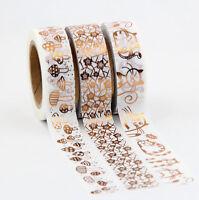 Set Of 3 Copper Rose Gold Foil Washi Masking Tapes Includes FREE UK PP